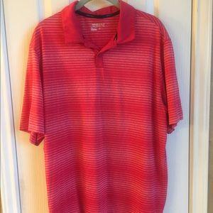 Nike red and white stripe golf shirt